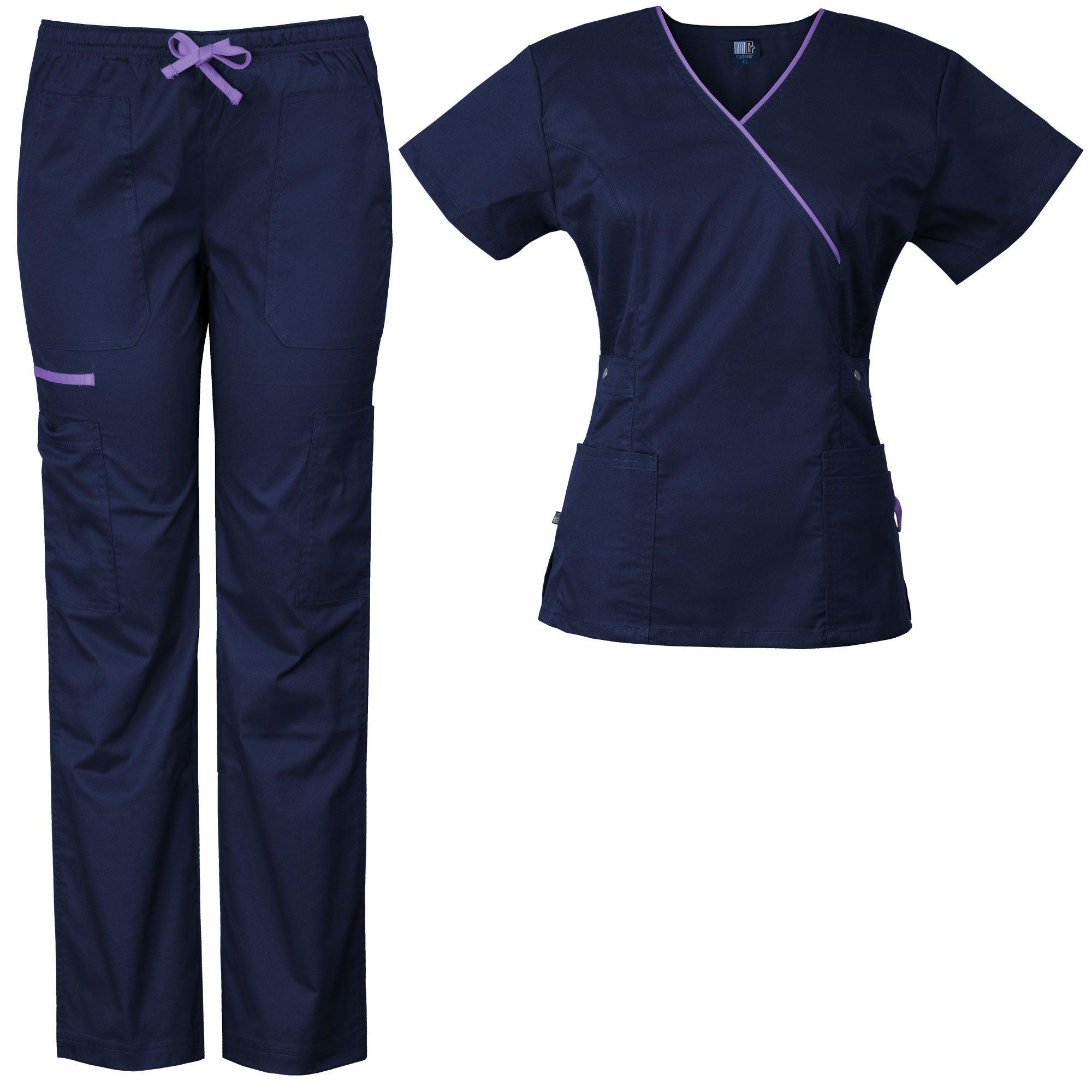 Medgear Women's Stretch Scrubs Set 5-Pocket Top & Multi-Pocket Pants (M, Navy/Lavender)