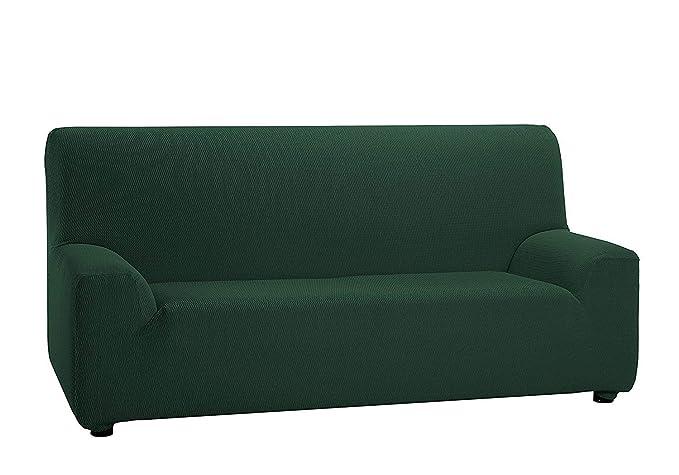 Regalítos TV Funda ELÁSTICA Ajustable para SOFÁ Túnez (Todos los tamaños y Colores) + 3 Pares de Calcetines 1 Plaza (70x110cm), Verde