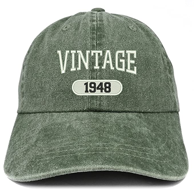 Trendy Apparel Shop Vintage 1948 Embroidered 70th Birthday Soft Crown Washed Cotton Cap