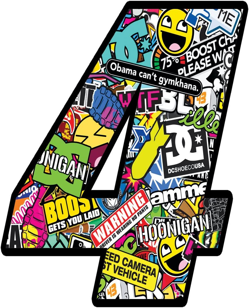 Racing Number Rally DC Stickers Bomb Decal 8 N 208