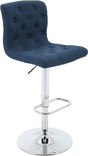Brage Living Adjustable Height Bar Stool Tufted Upholstered Barstool