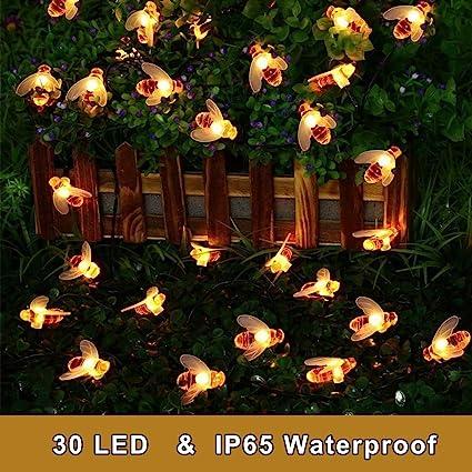 HALLO HOME® Solarbetrieben Honigbiene Außenbeleuchtung 30 LED Fee Lichterketten