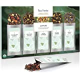 Tea Forte Single Steeps Loose Leaf Tea Sampler, Assorted Variety Tea Box, 15 Single Serve Pouches (Sampler - Lotus)