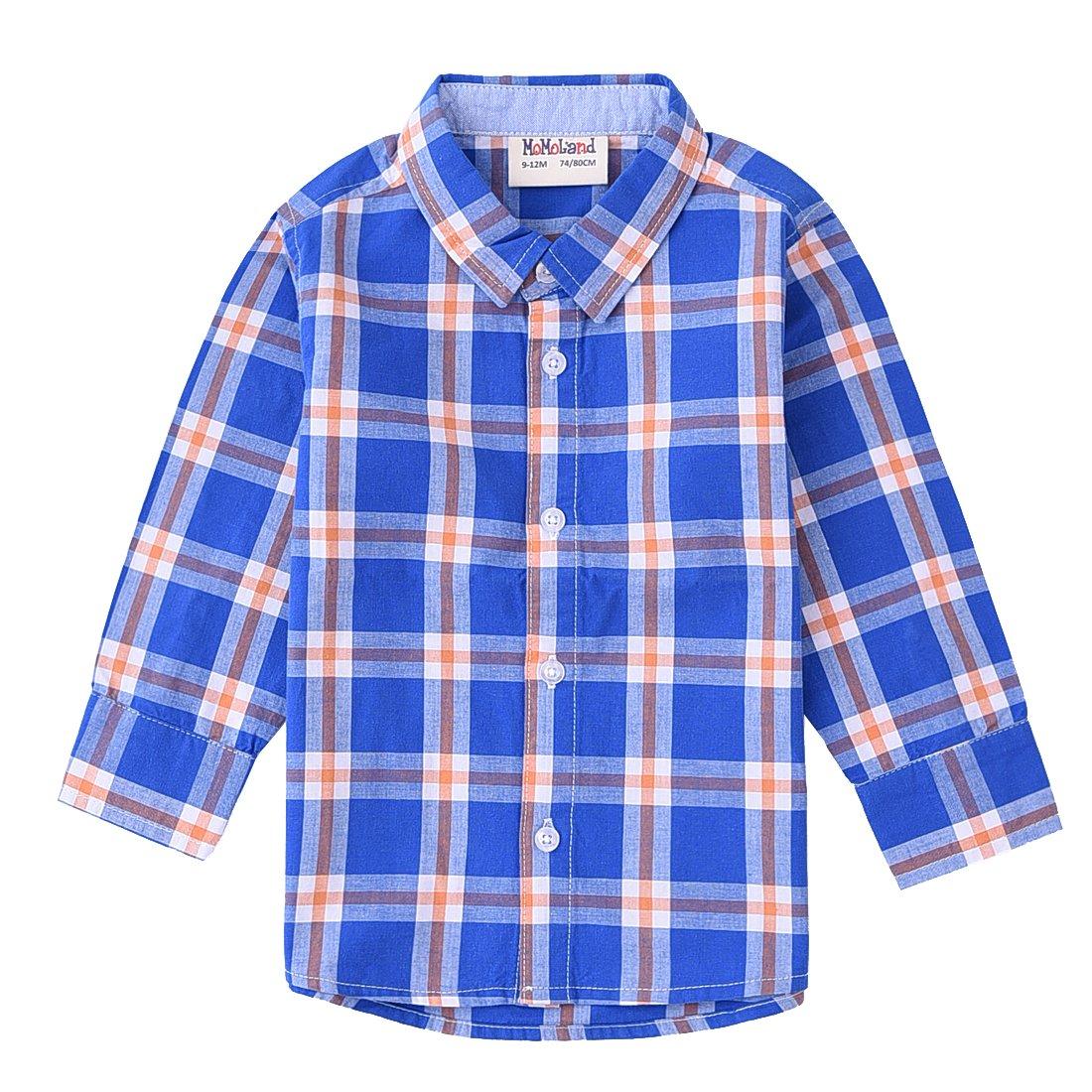 MOMOLAND Infant Baby Boys Long Sleeve Plaid Woven Shirts Blue Orange