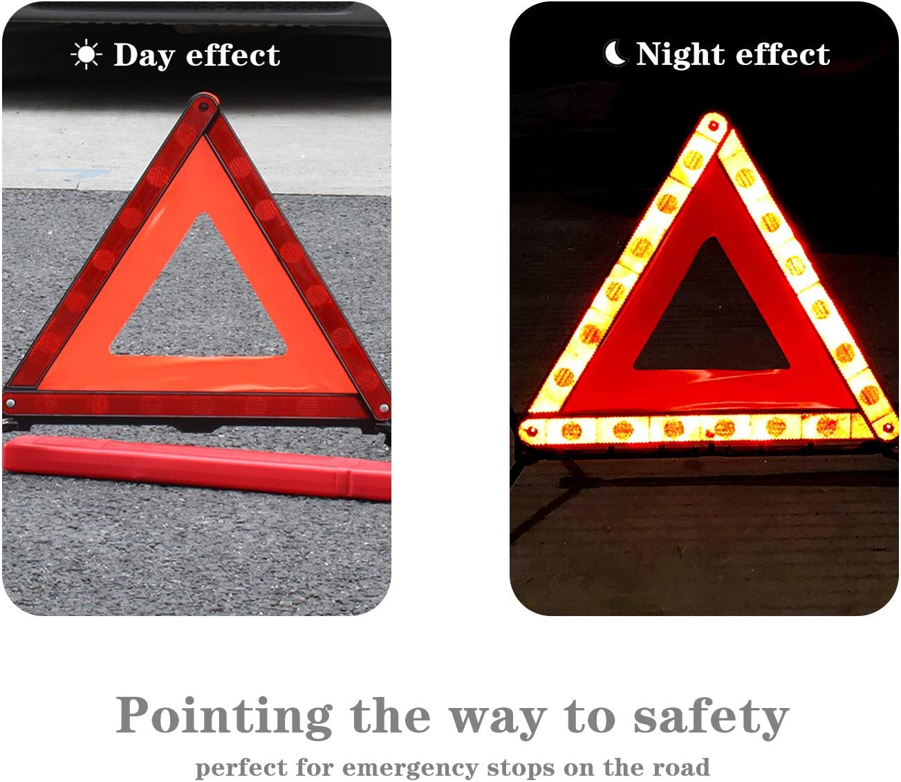 HENTEK 2Pack Warning Triangle Reflective Foldable Warning Triangle Kit with Storage Case Road Emergency Breakdown Accident Assistance Car Accessories 43CM