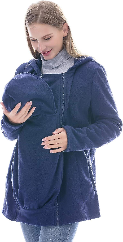 Mutterschaft Hoodie 2 in 1 K/ängurujacke aus Fleece Umstandsjacke mit Rei/ßverschluss Smallshow Tragejacke f/ür Baby