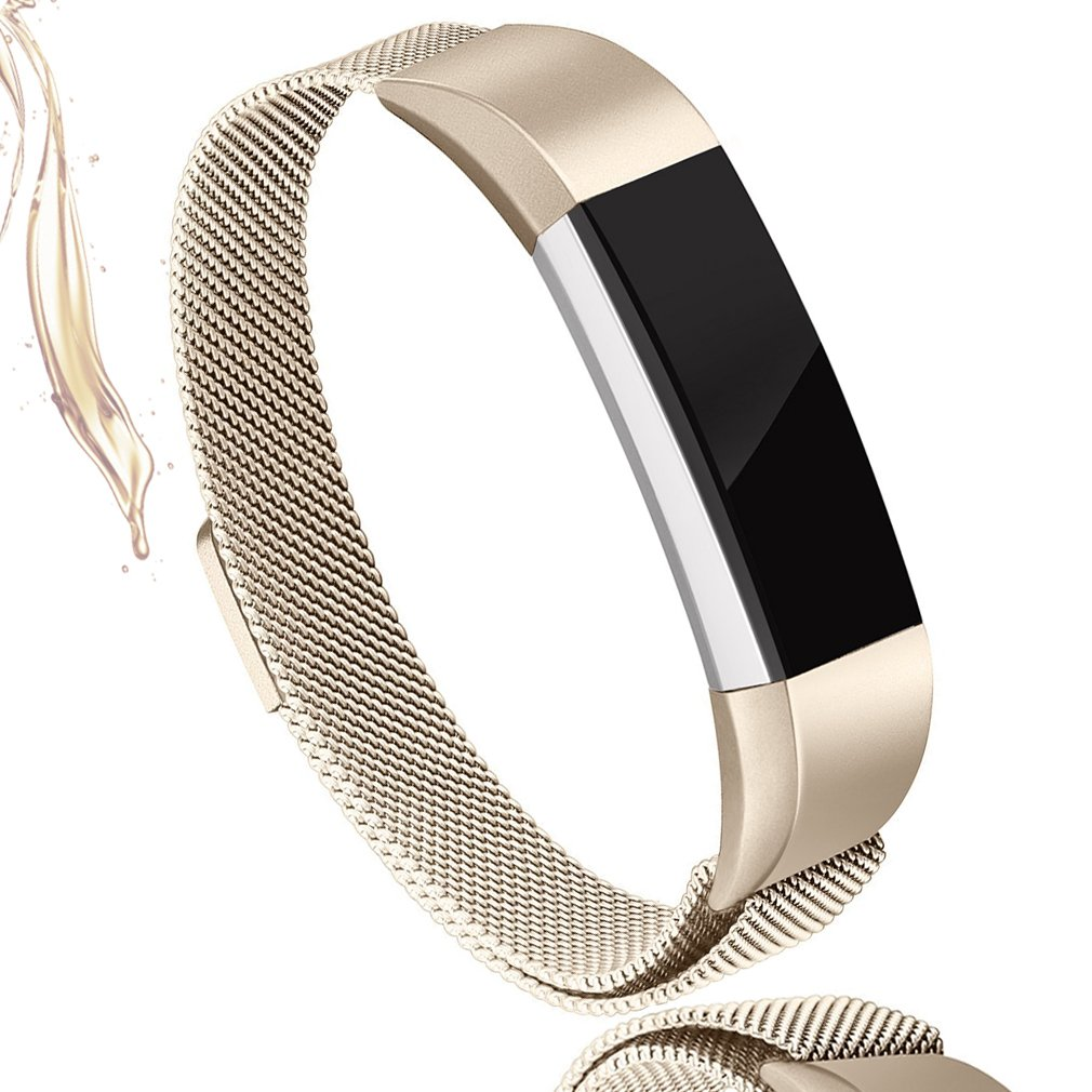 AK For Fitbit Alta HR Bands Milanese Stainless Steel Small Large Magnetic Closure, Adjustable Alta HR/Alta Accessories Metal Bands Straps for Fitbit Alta HR 2017/Fitbit Alta 2016 (Champagne, Small)