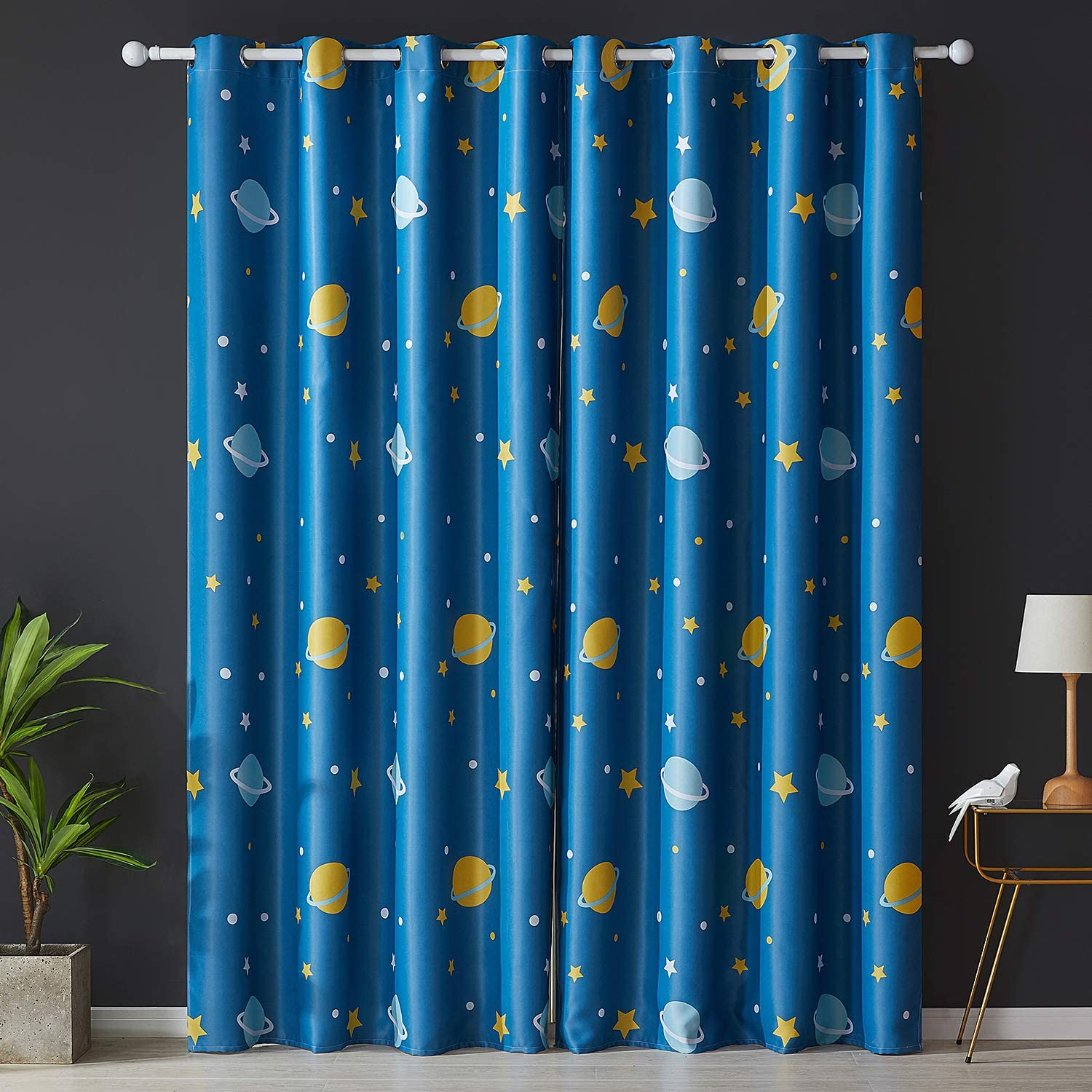 140cmx160cm Topfinel Printed Kids Curtains Semi Blackout for Children Bedroom Eyelet Thermal Insulated Room Darkening Planet Patterned Curtains for Nursery 54x63 Inch Drop Set of 2 Panels Blue