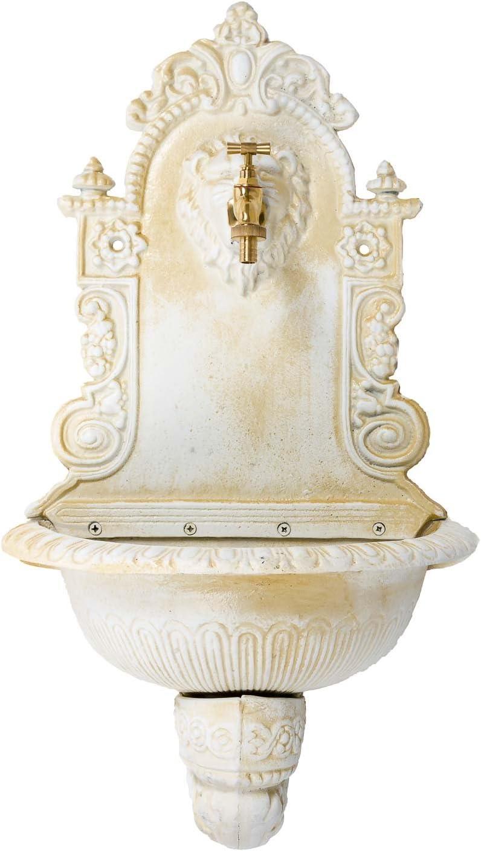 motif lion marro fer style antique Fontaine murale de jardin avec vasque