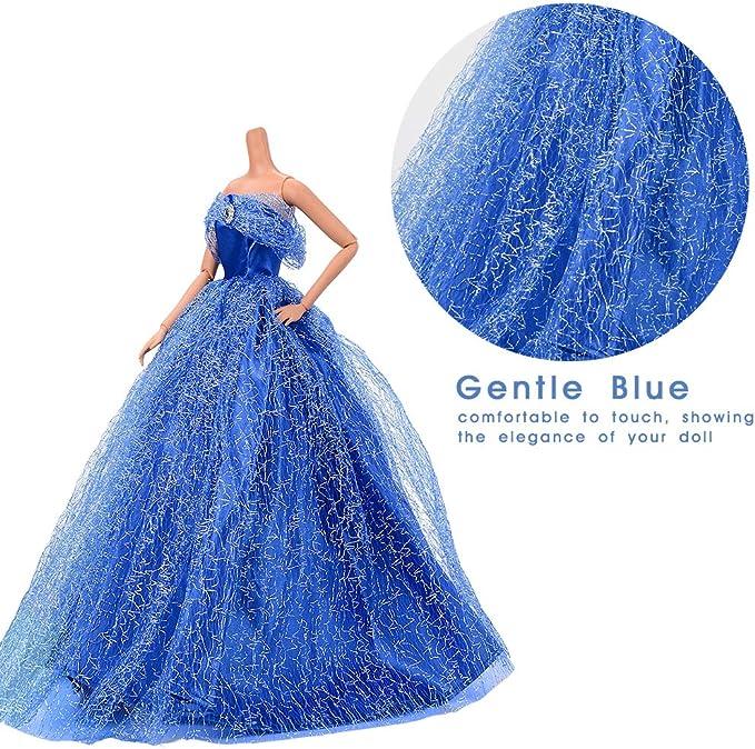 Bleu Magnifique Robes de Mari/ée V/êtements avec Un Chapeau en Plume Asiv Robe de Soir/ée Mode pour Barbie Poup/ée