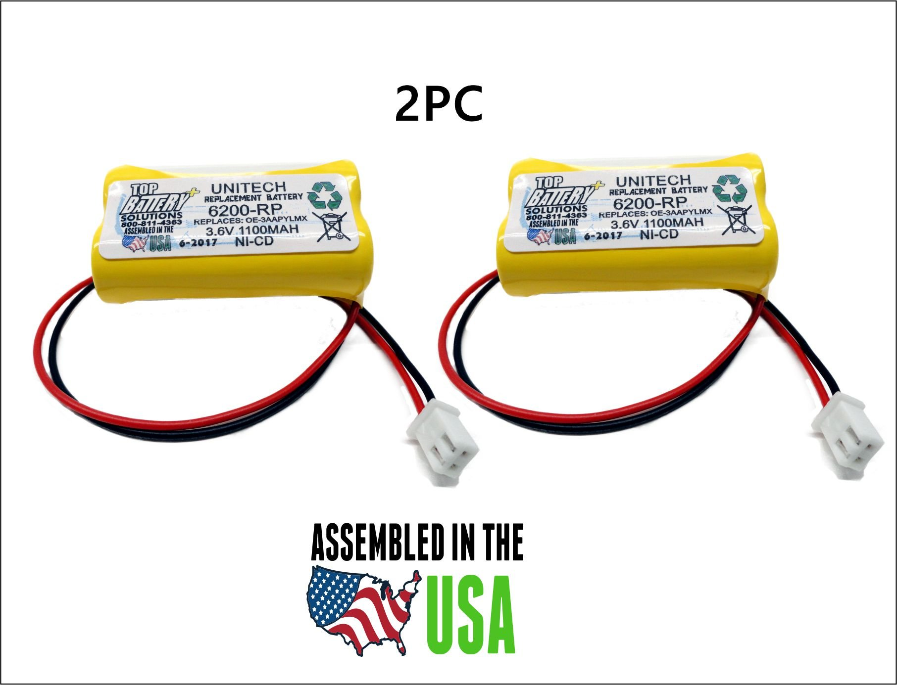 2PC UNITECH 6200RP 3.6V NICAD BATTERY REPLACEMENT