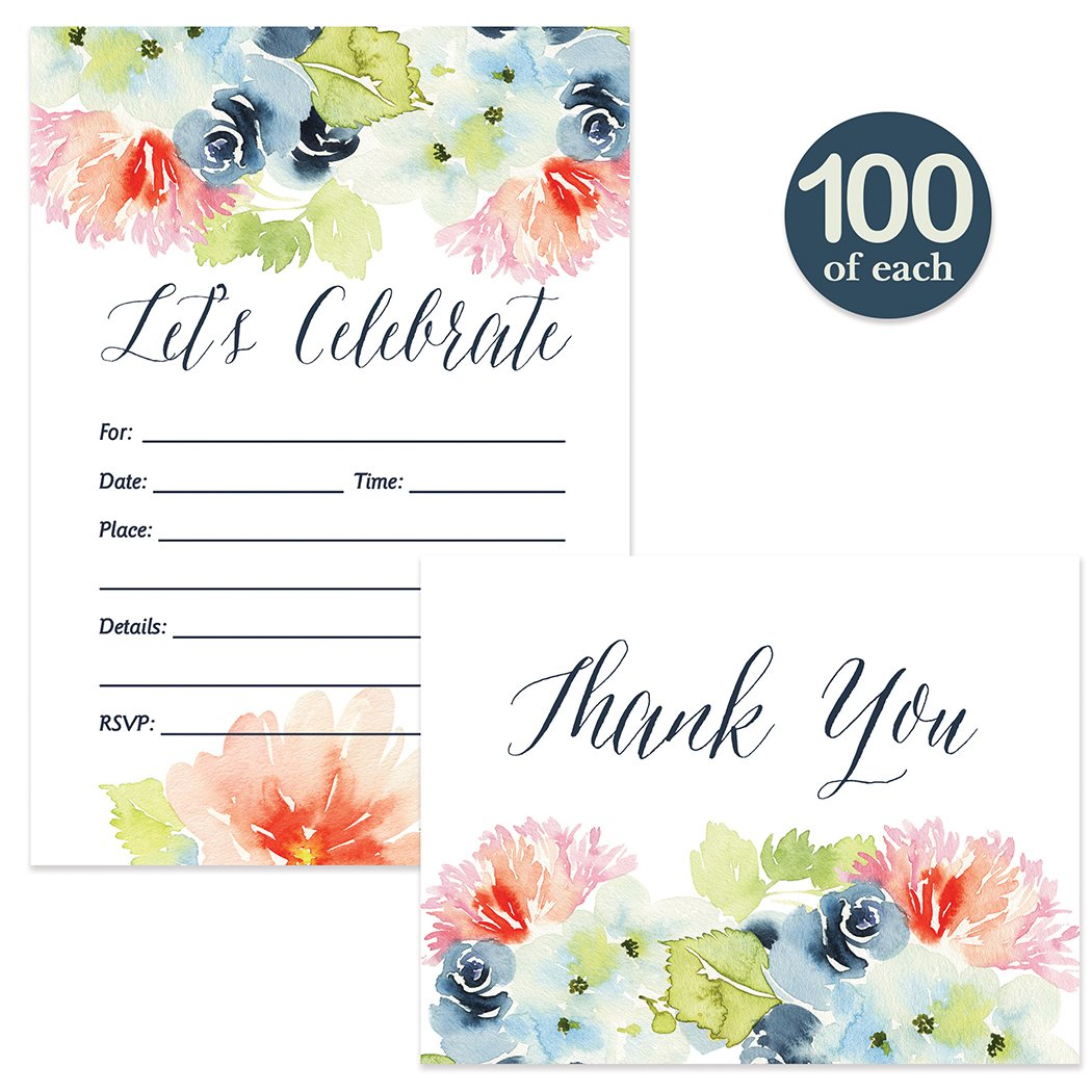 All Occasion Invitations & Thank You Notes Pink & Navy Floral & Matching Thank You Cards with Envelopes ( 100 of Each ) Fill-in B'day Party Shower Invites & Blank Thank You Notecards Best Value Pair