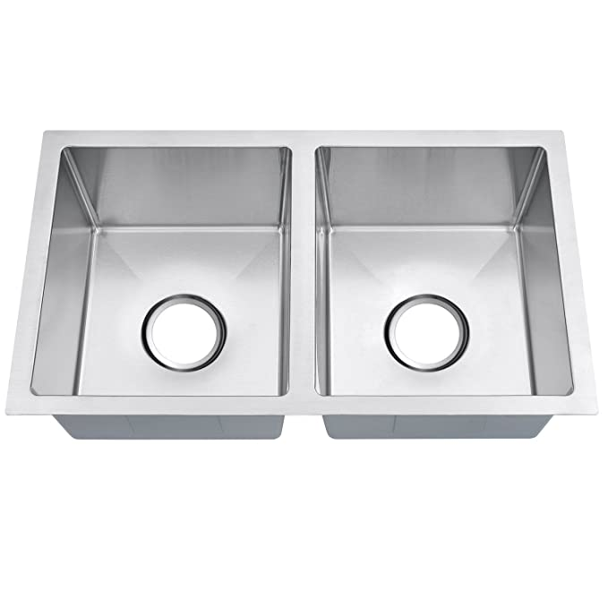 "Best Double Bowl Kitchen Sinks MOWA RV2716D Handmade Double Bowl 27"" Modern Kitchen Sink"
