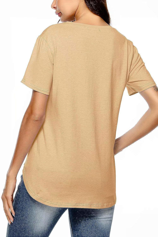 Inspop Womens Short Sleeve V-Neck Cotton Summer Shirts Blouses Loose Tee T-Shirt Tops Camisas para Mujer