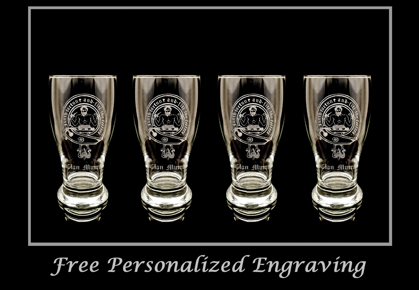 Clan Murray Scottish Crest Pint Glass Set of 4 - Free Personalized Engraving, Family Crest, Pub Glass, Beer Glass, Custom Beer Glass