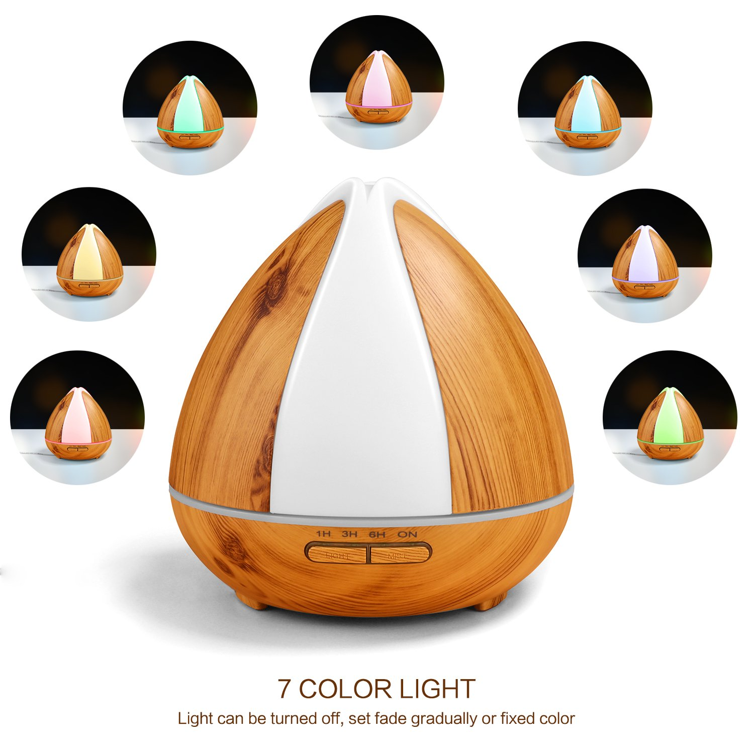 OMOTON Ultrasonic Aroma Diffuser 300ML Cool Mist Humidifiers Aromatherapy with 7 Adjustable LED Lights, Essential Oils Air Purifier, Super Quiet