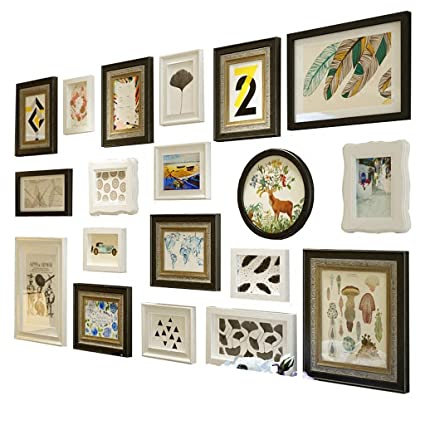 Amazon.com - ALUS- 19 Multi Photo Frames Set Pine Wood Inner silver ...