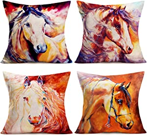 ShareJ Set of 4 Throw Pillow Covers Horse Western Oil Painting Vintage Wild Decorative Pillow Cases Home Decor Square 18x18 Inches Cotton Linen Pillowcases (Western Horse)