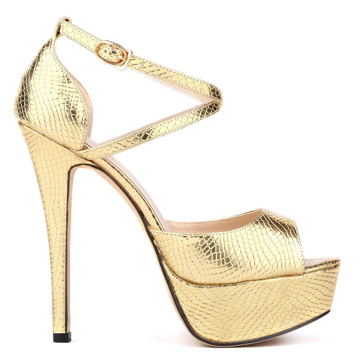 gold Women's Peep Toe Platform Stiletto High Heel Ankle Crisscross Strap Buckle Snap Dress Party Heeled Sandals