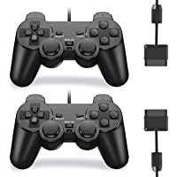 Burcica Wired Controller for PS2 Playstation 2 (Black and Black)