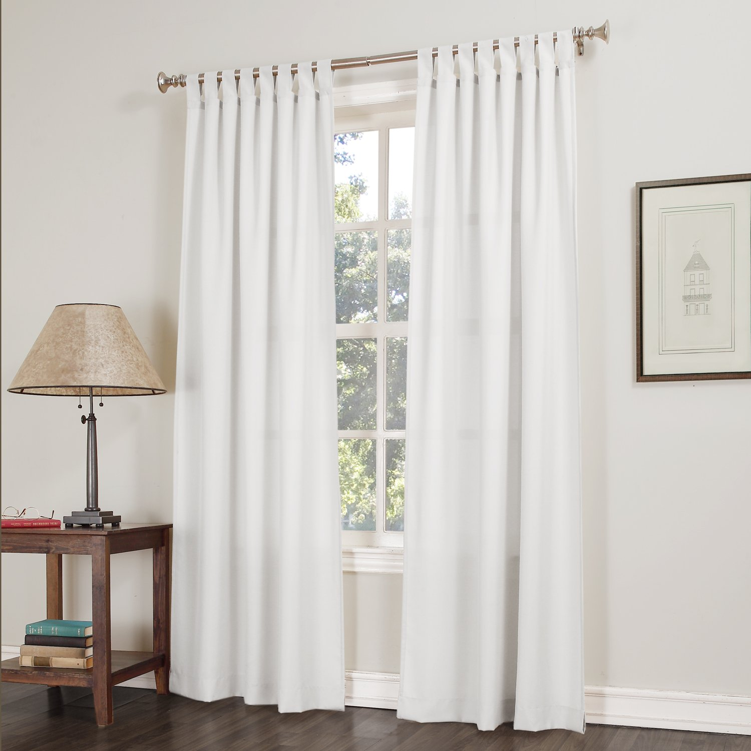 White curtain panels - 918 Trevor Semi Sheer Tab Top Curtain Panel 40 X 84 White Home Kitchen