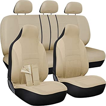 Poly Cloth Solid Beige with Front Low Bucket and 50-50 or 60-40 Rear Split Bench SUV Van Truck OxGord Car Seat Cover Universal Fit for Cars 10 pc Complete Set