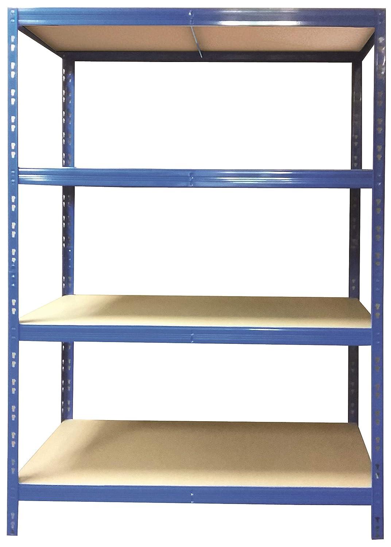 Schwerlastregal | 178, 5x130x60cm | CALLIDUS BAUMARKT | blau pulverbeschichtet | 130 cm breit ✓ 4 Bö den je max. 250 kg Tragkraft ✓ Lagerregal Metallregal Kellerregal