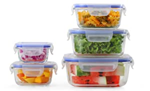 [5-Pack] Glass Meal Prep Containers - Food Prep Containers with Lock Down Lids Meal Prep - Food Storage Containers Airtight - Lunch Containers Portion Control Containers - BPA Free Container By Popit