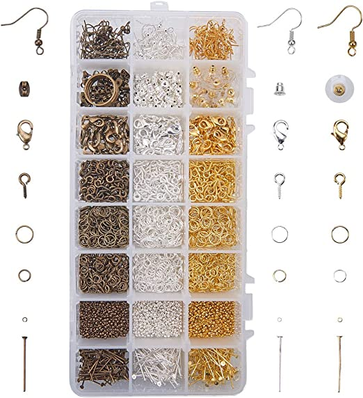 Bead Caps Earrings Crimp Extension Chain Hook Lobster Clasp End Caps for Jewelry Making DIY Jewelry Findings Kit Jump Rings