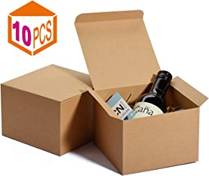 MESHA Kraft Boxes 5 x 5 x 3.5 Inches, Brown Paper Gift Boxes with Lids for Gifts, Crafting, Cupcake Boxes,Boxes for Wrapping Gifts,Bridesmaid Proposal Boxes (10PACK)