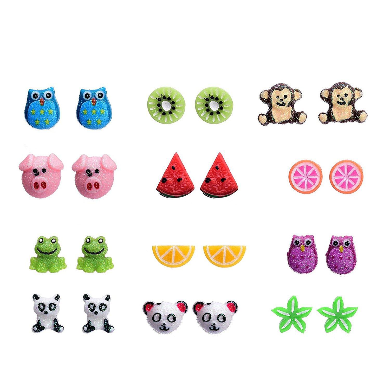 12 Style Resin Cute Animals Fruit Stud Earrings Set For Kids Girls Hypoallergenic Nickel free Dragon Fashion