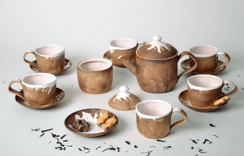 Handmade ceramic designer clay tea-set kitchen tools and equipment