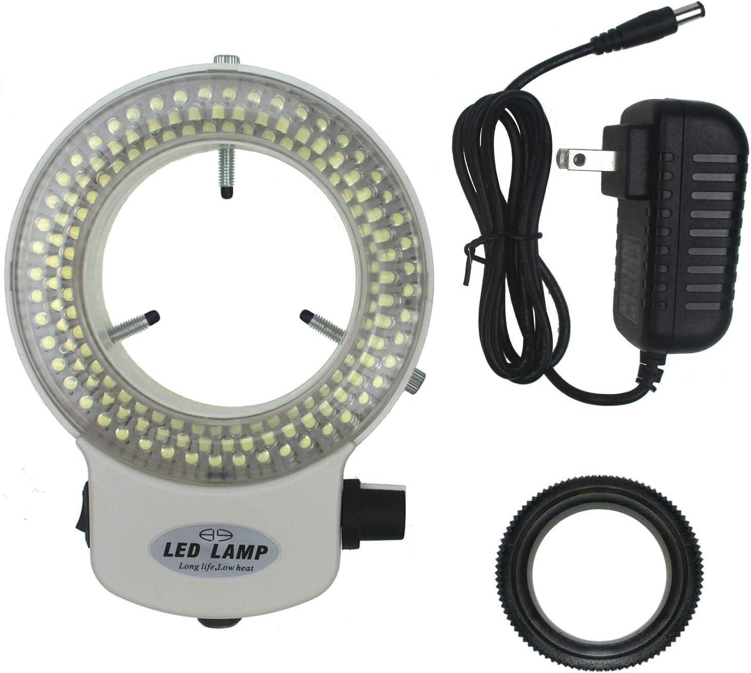 White White Adjustable 144 LED Ring Lamp Illuminator for Stereo Microscope /& Camera LED Ring Light