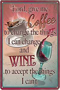 Tin Signs Reproduction Vintage, Funny Coffee & Wine Metal Sign, Home Kitchen Office Bar Garage Wall Decor, 8x12 Inch