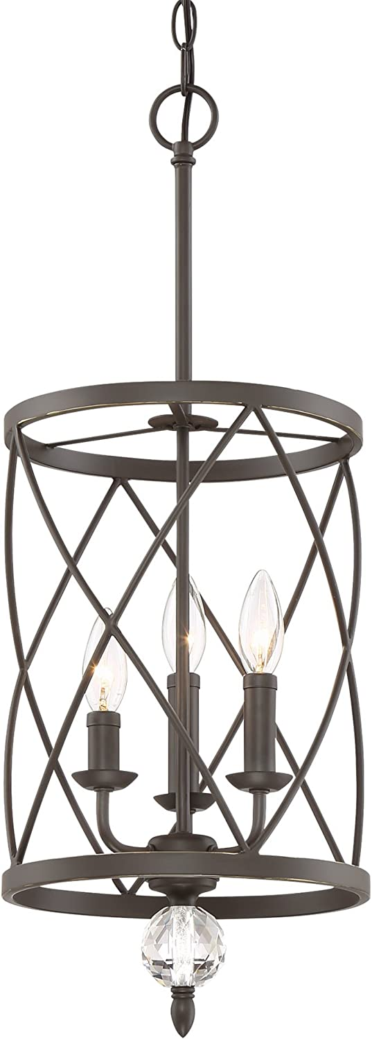 Kira Home Eleanor 13 3-Light Traditional Foyer Light Pendant Chandelier, Cylinder Metal Shade, Adjustable Height, Oil-Rubbed Bronze Finish