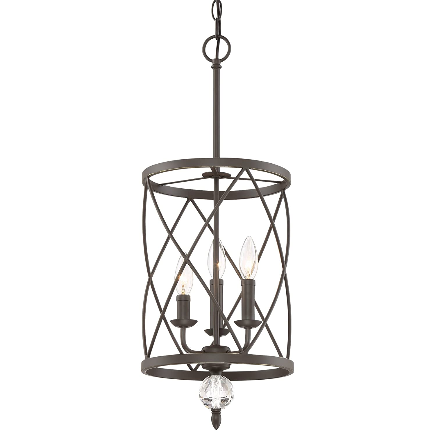 "Kira Home Eleanor 13"" 3-Light Traditional Foyer Light Pendant Chandelier, Cylinder Metal Shade, Adjustable Height, Oil-Rubbed Bronze Finish"