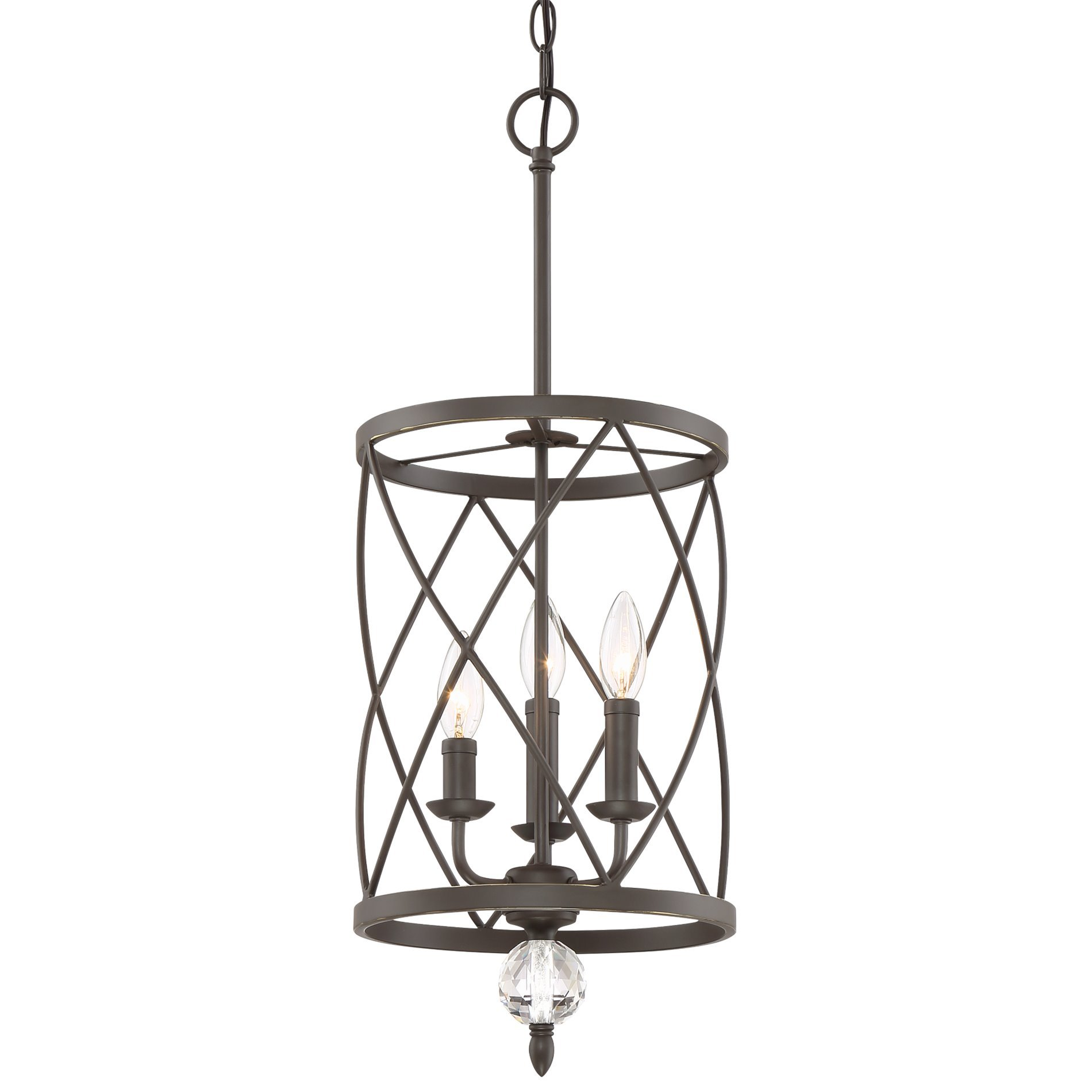 Kira Home Eleanor 13'' 3-Light Foyer Light Chandelier + Metal Shade, Oil-Rubbed Bronze Finish (Contains Minimal Blemishes/Inconsistencies)