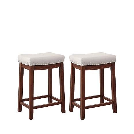 Phenomenal Amazon Com Lonma Kitchen Backless Linen Counter Height Creativecarmelina Interior Chair Design Creativecarmelinacom