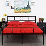 GreenForest Full Size Bed Frame/Stable Metal Slat Support/No Boxspring needed/with Headboard/Black