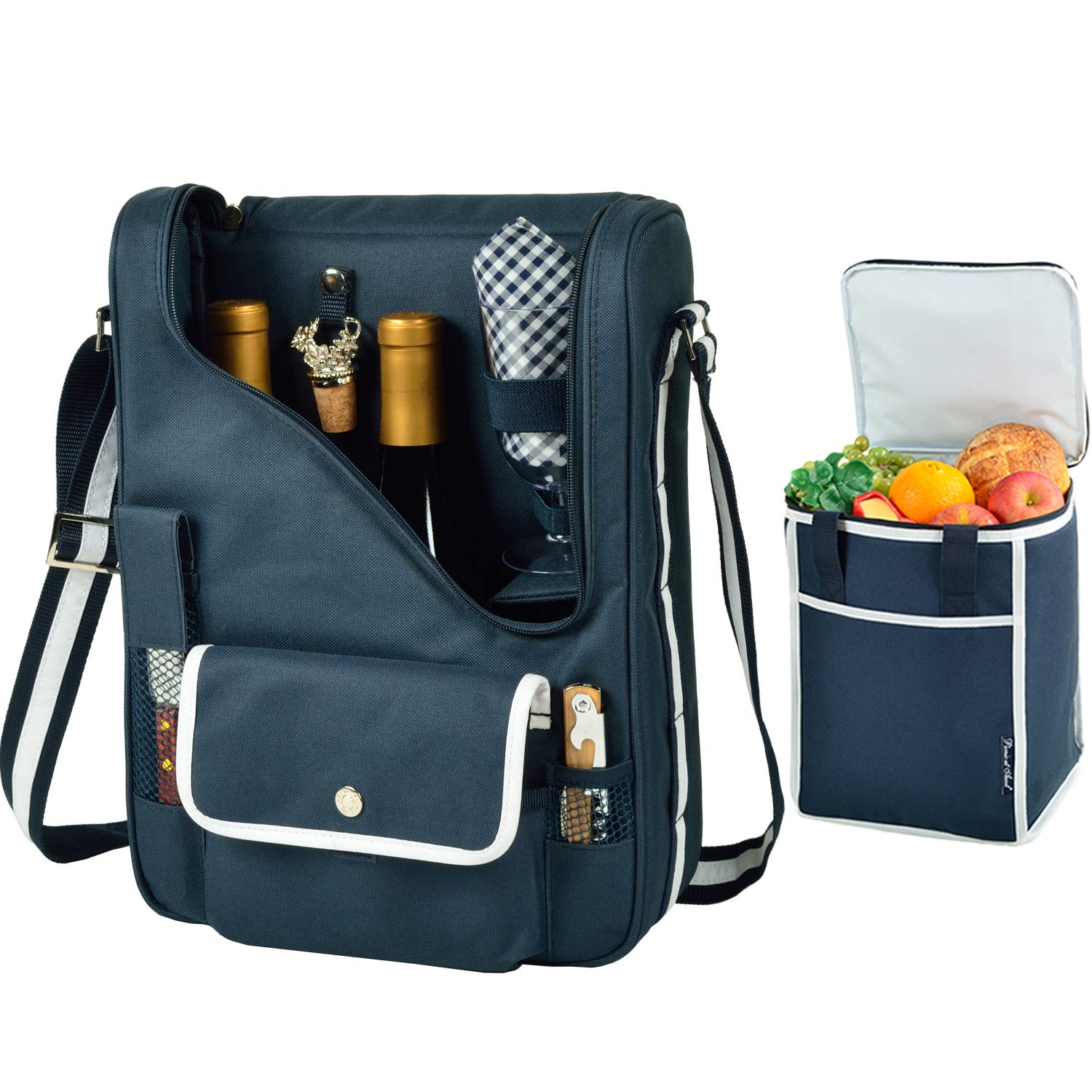 Picnic at Ascot Original Wine and Cheese Tote for 2 with Matching Cooler - Designed & Assembled in California - Navy by Picnic at Ascot