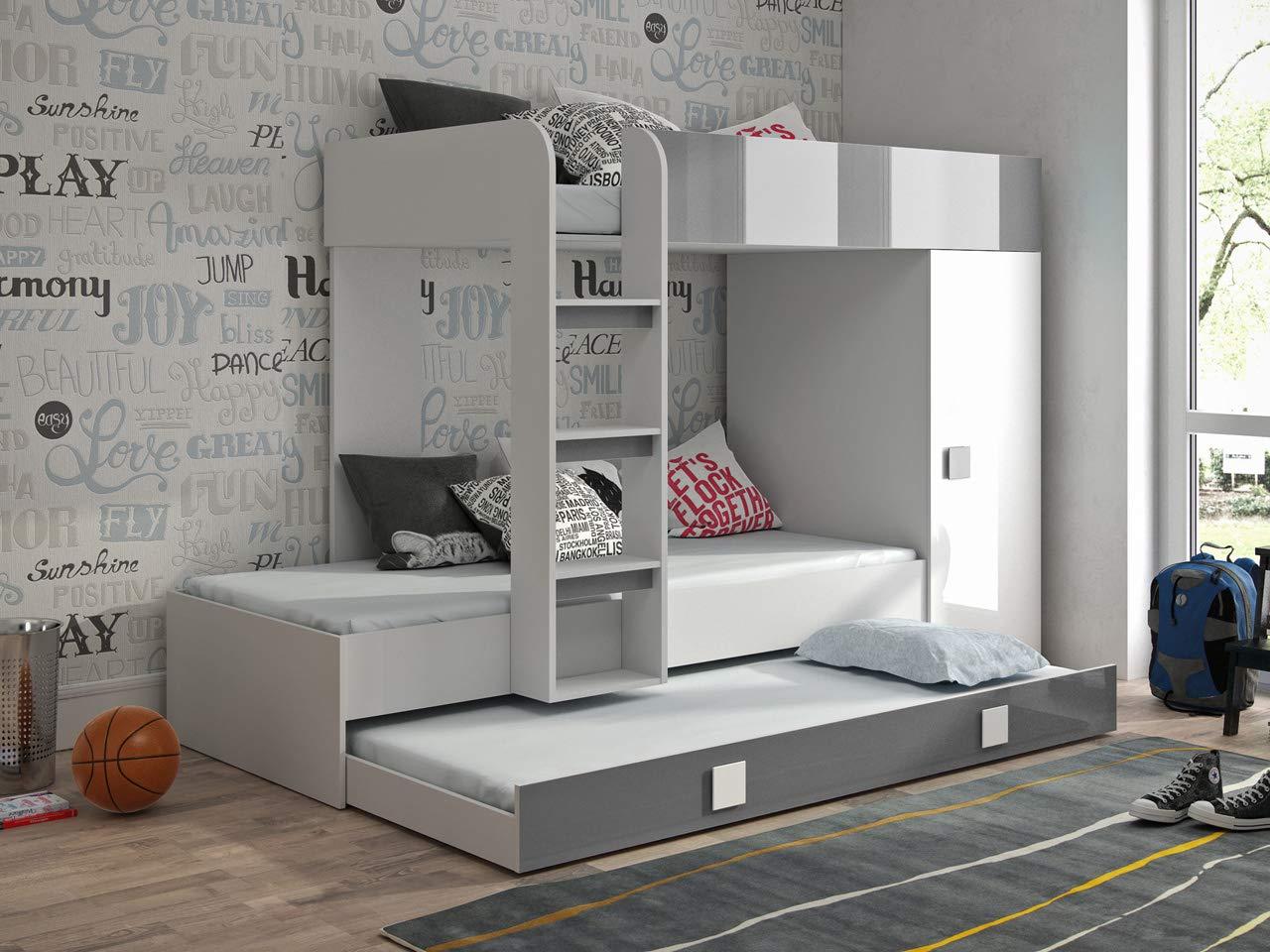 Etagenbett für Kinder TOLEDO 2 Stockbett mit Treppe und Bettkasten KRYSPOL (Weißszlig; + Grau Glanz) Weiß + Grau Glanz