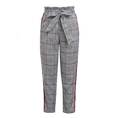28c4067edf3 Plaid Detachable Bow sash Pants Women Side Stripe lace up Trousers Harem  Pants at Amazon Women s Clothing store
