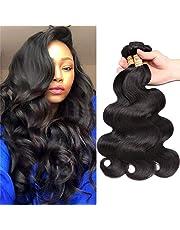 Extensiones de cabello humano virgen malasio ondulado, 3 paquetes de extensiones de cabello humano sin procesar, doble trama sedoso, pelo humano ondulado, color negro natural (40 45 50cm)