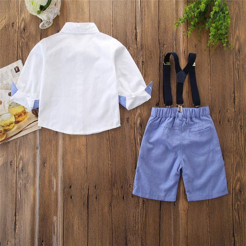 Womola Baby Boys Clothes Sets Short Sleeve Bow Ties Shirts Suspenders Pants Gentleman Outfits Suits