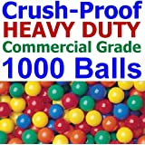 """1000 pcs Commercial Grade Crush-Proof Plastic Ball Pit Balls in 5 Colors - 3.1"""" Air-Filled 100% non-PVC Phthalate Free LDPE Plastic - 90 Days Guaranteed"""