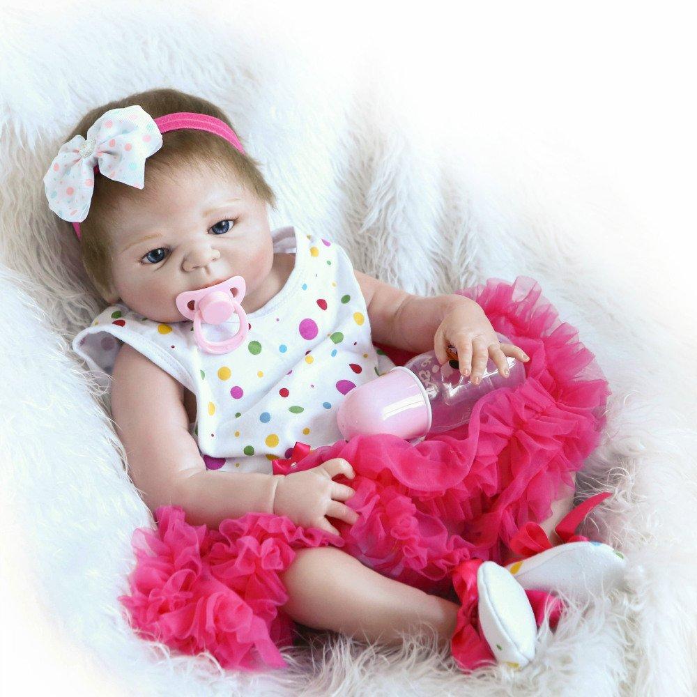 QXMEI Renacer De La Muñeca De Silicona Suave 22 Pulgadas 56 Centímetro Magnética Boca Realista Niño Niña Vestido Rosa De Juguete Reborn Doll