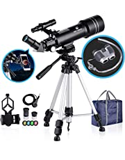 BNISE 70mm Portable Refractor Telescope & HD Binoculars, Fully Coated Glass Optics, Telescopes for Astronomy for Beginners and Kids, with Adjustable Tripod Smartphone Adapter Moon Filter and Carry Bag