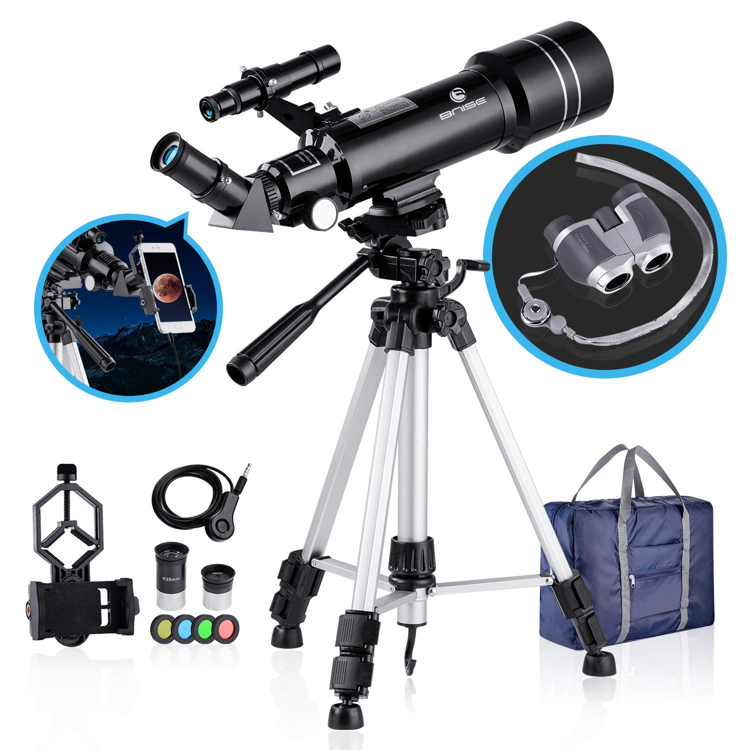 BNISE 70mm Portable Refractor Telescope & HD Binoculars, Fully Coated Glass Optics, Ideal Telescope for Kids Beginners, with Adjustable Tripod Smartphone Adapter Moon Filter and Carry Bag by BNISE