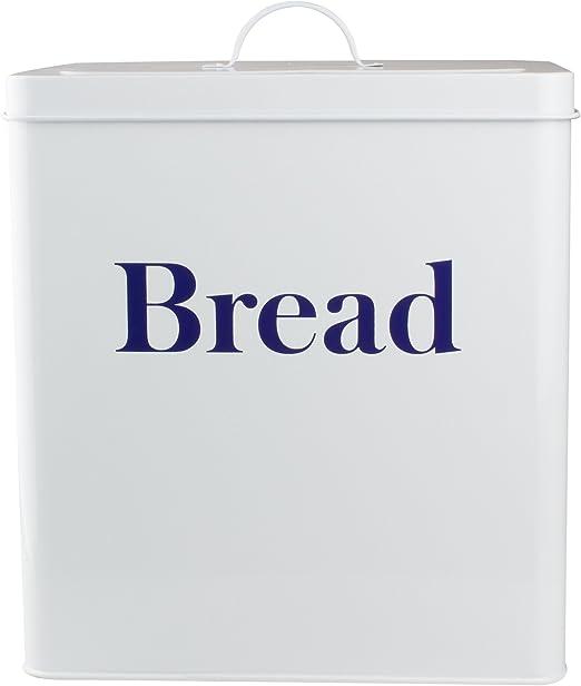YGL - Caja metálica para pan de estilo retro (letras en azul ...