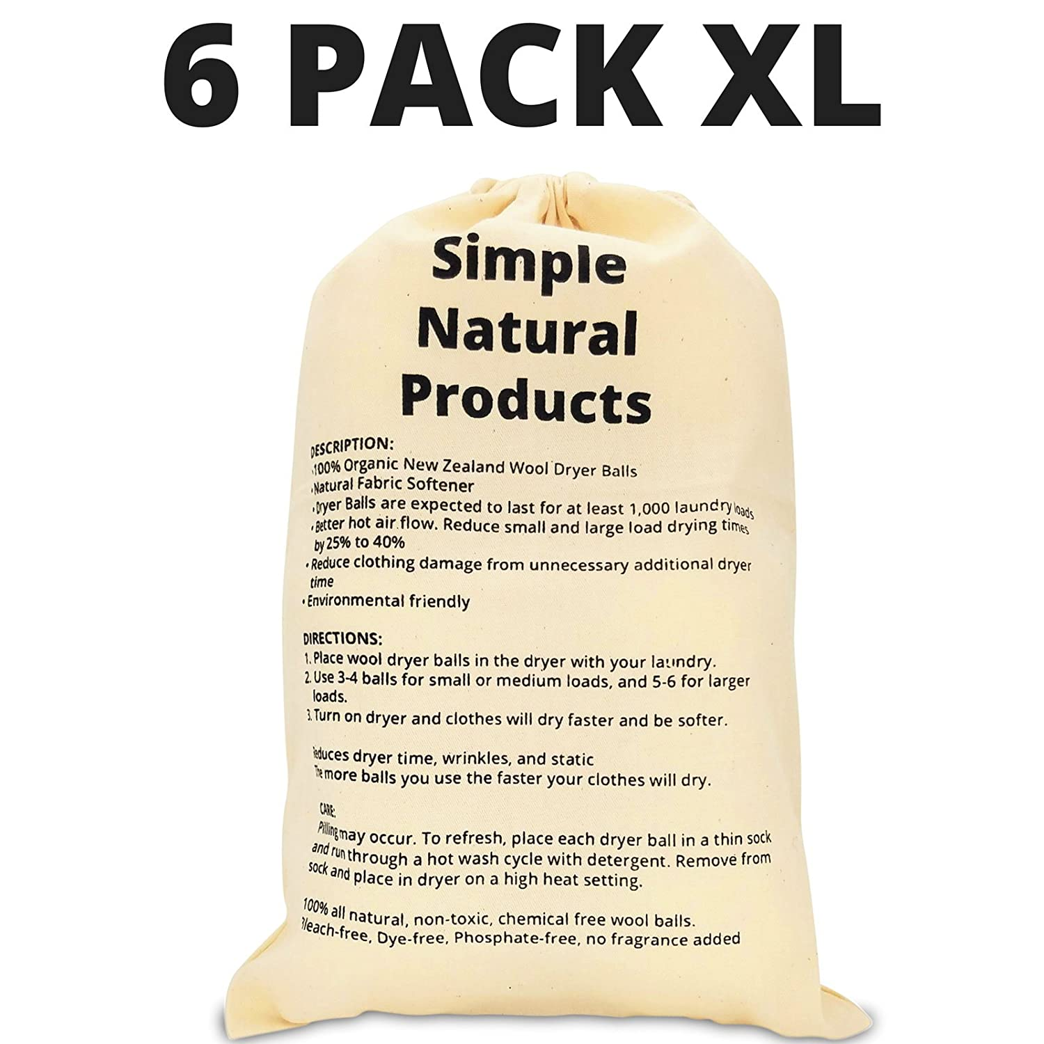 Amazon.com: Simple Natural Products Wool Dryer Balls Handmade (6 XL Pack)  Natural Fabric Softener Reusable and Eco Friendly 3000 Cycle Rating: Home &  ...